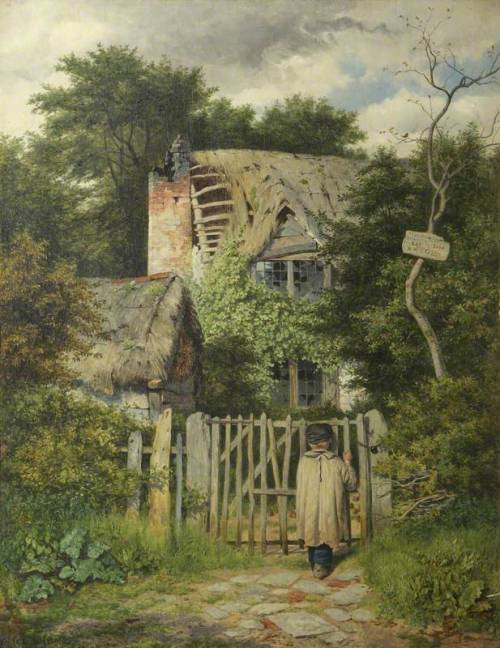 arcadiainteriorana:    Benjamin Williams Leader (1831 – 1923), A Small Boy Standing at the Gate of a Ruined Cottage. Oil on canvas, 123 x 103 cm. National Trust  (Note: Leader was a British landscape painter who began studies at age 23 at the Royal Academy Schools in London. He exhibited a painting there during his first year and continued to have work accepted for exhibit until age 91. This painting is housed at Greyfriar's House and Garden operated by the National Trust in Worcester, England. — A Thousand Winds)