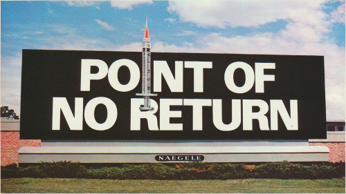 A 1971 anti-drug billboard produced by Naegele Outdoor Advertising Co., Inc. Scanned from the newest addition to the Public Collectors PDF Library: Fortieth Outdoor Advertising Competition. This forty page color catalog presents the results of an annual competition focused on billboards and other outdoor ads, judged by a panel of experts in the field.