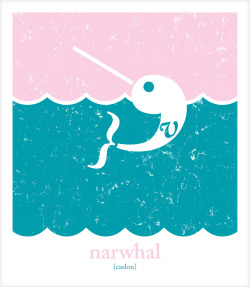 more fun personal work…. narwhals are pretty happening right now, so here's a narwhal made from multiple families of the font caslon.