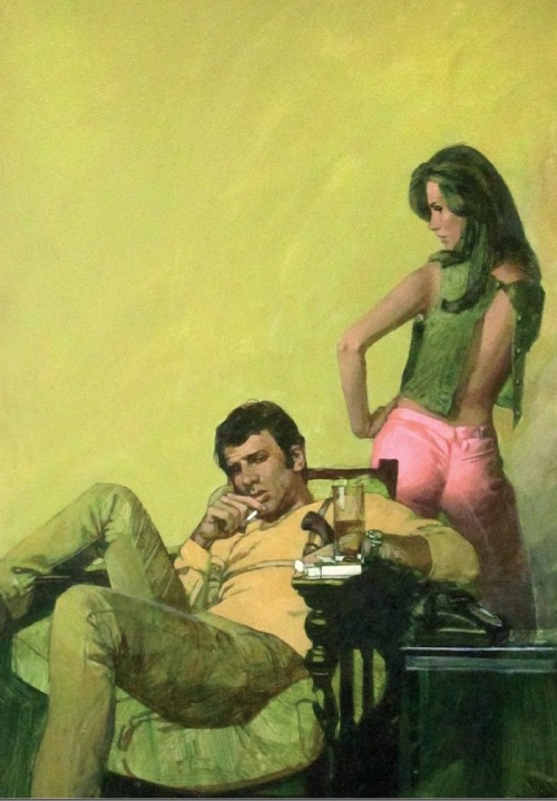 vintagecoolillustrated:  Love the pink pants. (artist?)