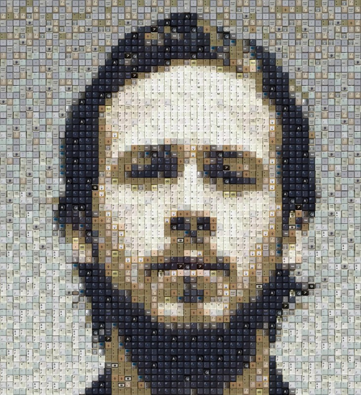 Ryan Gosling made out of computer keys