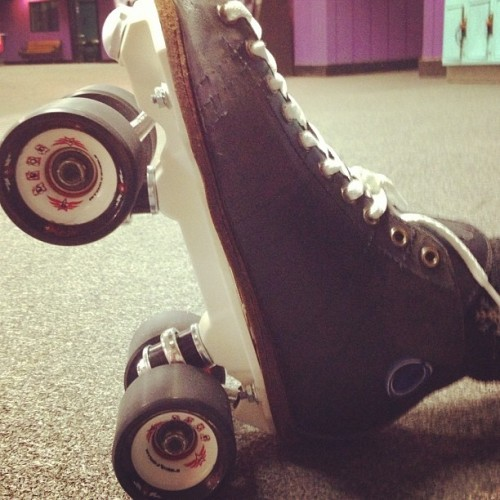 New wheels, trucks, and plates for my girl @deadlypace #derby #rollerderby #skate  (Taken with Instagram at Skate City)