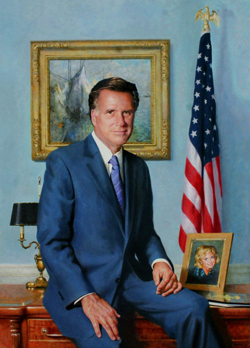 kimil-sung:  The official portrait that was made of Mitt Romney as Governor in Massachusetts is pretty weird.  It's real.
