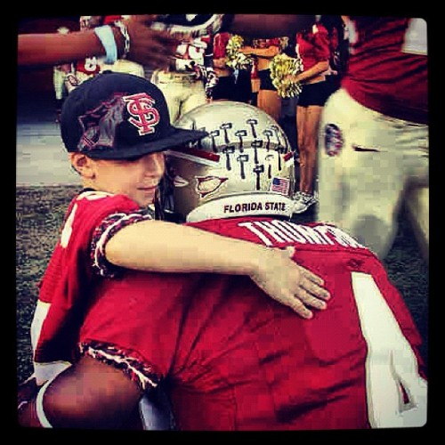 missbossladya:  Chris Thompson and Ethan before the game. 💞 #noles #fsu #unconquered (Taken with Instagram)