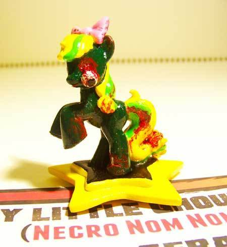 "This is Necro Nom Nom, she's a zombie-themed pony I did for the, ""My Little Ghoulies"" custom toy collection. I'm taking orders for customs now! Email: Glitchcomics @gmail.com and use, ""My Pinkie Sense is Tingling"" in the subject line to get 20% OFF! Orders are booking up FAST!"