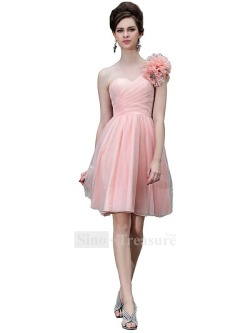 Pink Knee-Length Chiffon/Elastic Woven Satin One Shoulder Cocktail/Homecoming Dress This beautiful cocktail dress is designed by Sino-Treasure.Hope you like it. Many thanks!