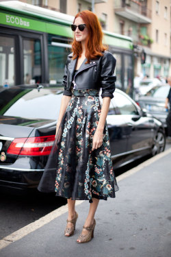 what-do-i-wear:  Taylor Tomasi Hill balances sweet and biker (image: harpersbazaar)
