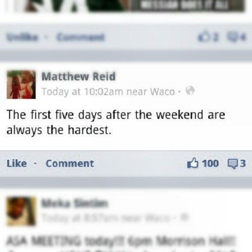 "Broke 100 ""likes"" on my status. I'm cool. (Taken with Instagram)"
