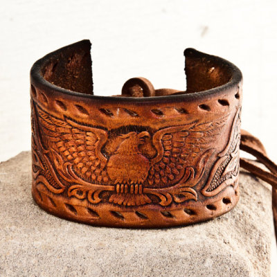 Men's Leather Cuff Bracelet by rainwheel