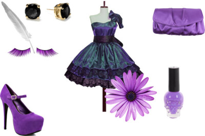 purple beyond purple by styleexplorer16 featuring prom eye makeupZipper dress / JustFabulous stiletto high heels / Satin clutch purse / Kate Spade  earrings / Urban Decay prom eye makeup, $19 / Nail polish