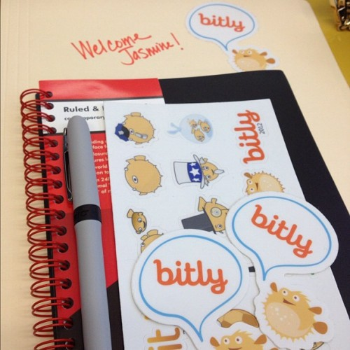 First day at Bit.ly was filled with stickers, pufferfish, sticks of pufferfish, burgers and mallomars.  Long story short, it rocked.
