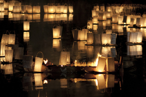 Lanterns and burning boat on Flickr.