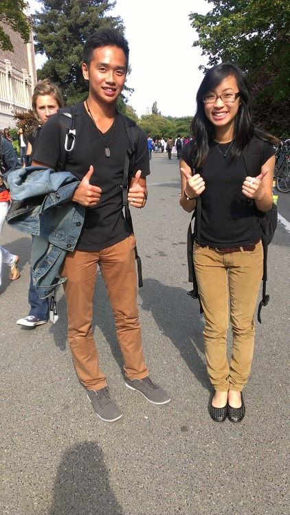 What happens when you wear a black tee and khaki pants.. you match with all the guys at uni lol