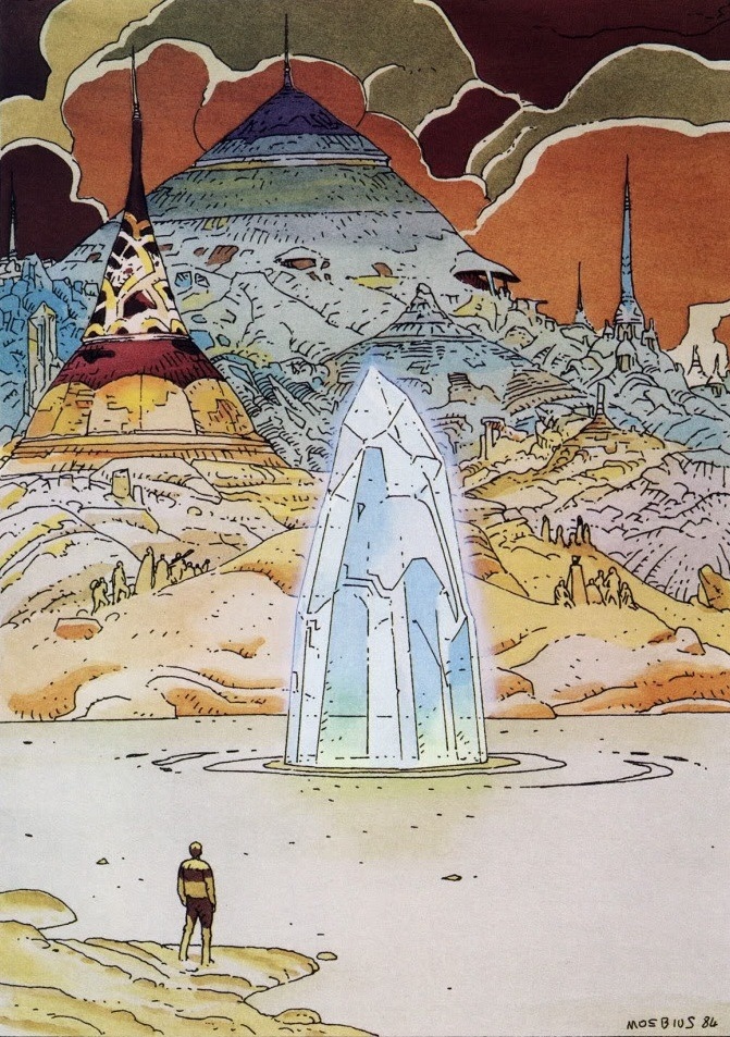 outdarethenight:  by Moebius  Architecture & Fantasy | Moebius (Jean Giraud) | 072