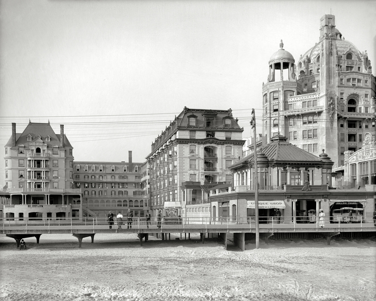 "The Atlantic City Boardwalk circa 1908. ""Hotel Dennis."" And the Marlborough-Blenheim at right. 8x10 inch glass negative, Detroit Publishing Company."