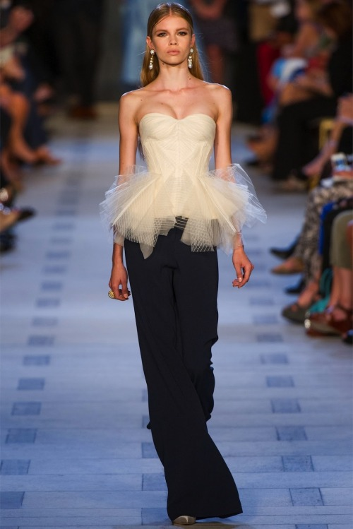 Collection: Zac Posen Spring 2013 Who we see wearing this piece: Dita von Teese, Marion Cotillard or Camilla Belle Who would you like to see wearing this piece on the red carpet?