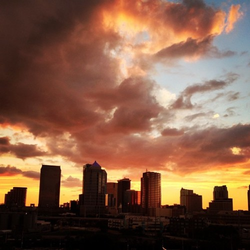 Beautiful sunset behind the cityscape of Tampa (Taken with Instagram)