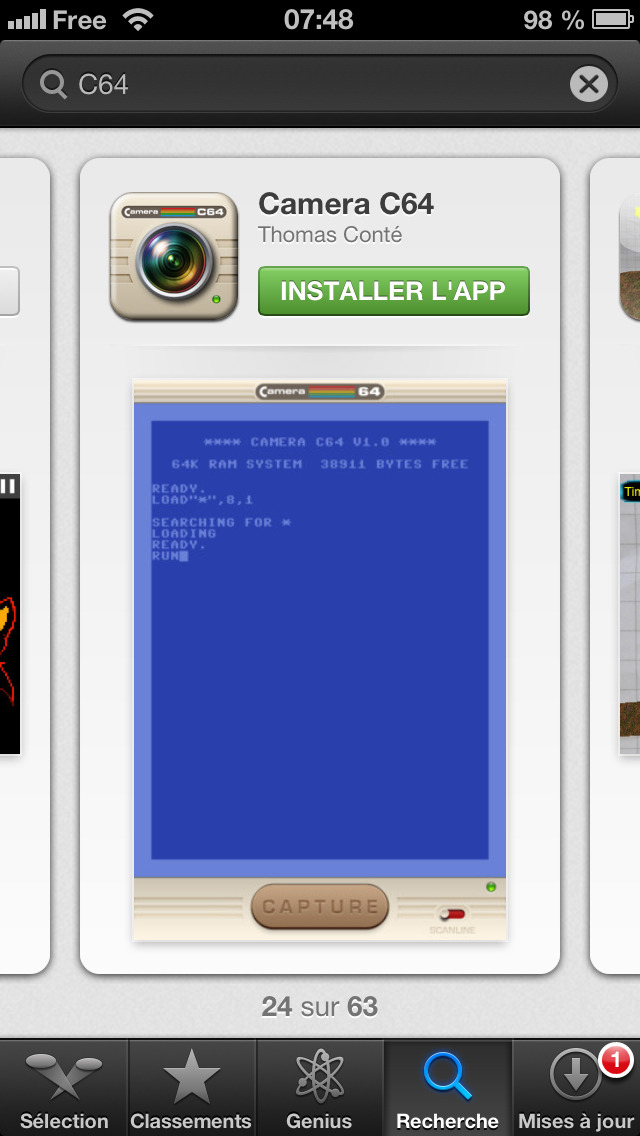 Yay! My C64 app Camera C64 has hit the App Store. It's a camera app that will let you take C64-style pictures with a real-time preview of the effect.  It has been written using Brad Larson's GPUImage library, with amazing graphics by Jean-Christophe.  It is free for now, so grab it while it lasts :-)