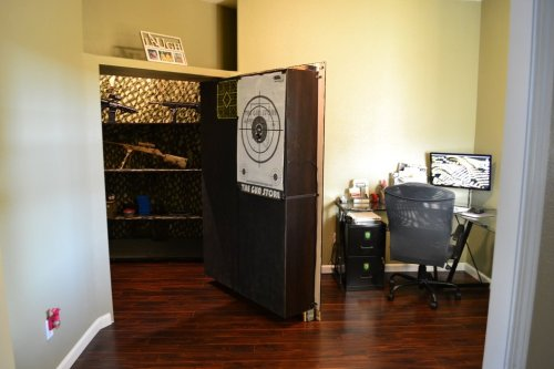 stashvault:  Secret Bookcase Door To Zombie Apocalypse Safe Room