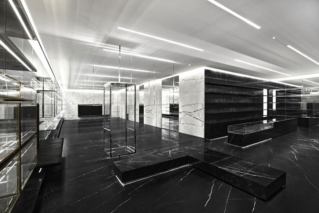 Saint Laurent's Store made of Glass, Marble, Raw Concrete