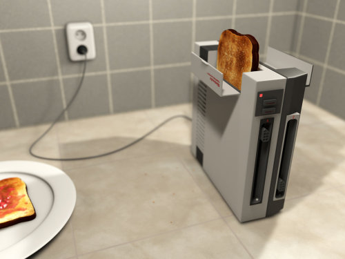 otlgaming:  NES TOASTER WILL ROCK YOUR WORLD 1-1  Or it would if it were real. Yeah, it's as close to reality as Mother 3 is to getting an official release in the United States. Oh. I just made myself sad.  Anyway, it's some righteous 3D work done by Mathijs Sterrenburg. The design is well thought out and you'd be hard pressed to tell that this isn't a photograph. Make sure to visit Mathijs's deviantART page for his 3D render of an NES console and controller. If you like customizing consoles you'll probably like this Zombie Mario SNES.
