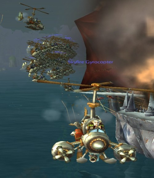 Escape from the helicopter mob upon arrival at Pandaria