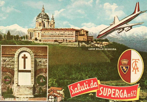 A postcard for the Superga, the hill that sits above the industrial city of Turin (Torino in Italian). Known for its white basilica, it is also remembered by sports fans because in 1949 a plane carrying the AC Torino football team crashed into the hill when it was forced to fly low as it approached Turin during a storm. The postcard tries to capture the exact moment this happened. For cyclists there's better news as the Milan-Torino race is back on the calendar for 2012 and takes place on Wednesday 26 September and features the Superga climb to the finish. I'll do a proper preview for this race on inrng.com on Wednesday as it's a good event and part of a trinity of races in northern Italy with the Giro del Piemonte on Thursday and Il Lombardia on Saturday.