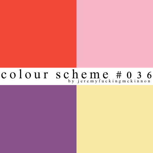 ♛ colour scheme #036 ♚by jeremyfuckingmckinnonhex codes: #F34837 #F7B7C8 #88538B #FAE9A4