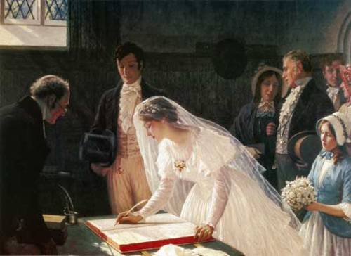 trockneblumen:  Edmund Blair Leighton, Signing the Register