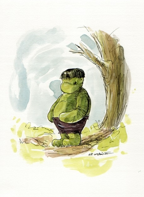 xombiedirge:  Little Hulk by Charles Paul Wilson III Part of the Silent Art Auction for Wonder Woman 2012. Open for bids HERE.