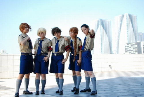 What a fantastic Gundam Wing group cosplay in the Mariemaia Army uniform. Mae as Heero Yuy || Kyoha as Duo Maxwell || Akira as Trowa Barton || 凛 as Quatre Winner || Ichiko as Wufei Chang