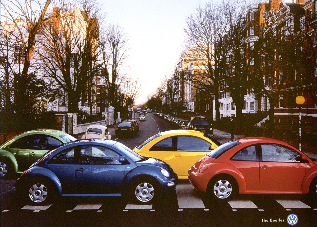 sadeceka:  Beetles on Abby Road! Hilarious ad! Nice work VW!