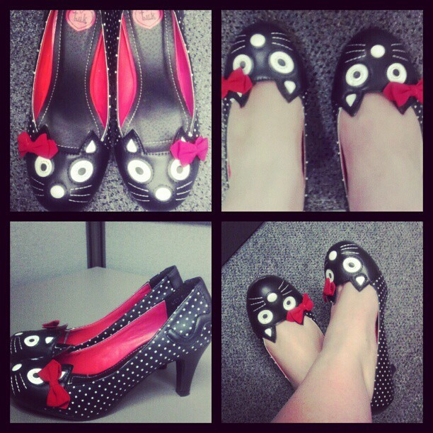 Hello Kitty…  #shoes #Kitty #tuk #Lucindas #polkadots #bow  (Taken with Instagram)
