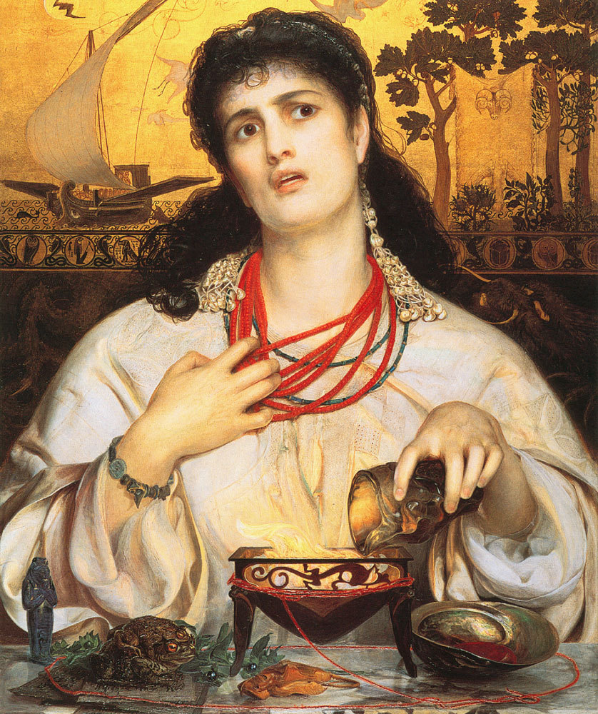artmastered:  Frederick Sandys, 1866-68, Medea This painting caused a significant scandal when it was rejected for the Royal Academy in 1868: many commented on the irrationality behind its political non-acceptance and after it was finally shown in 1869, The Times newspaper issued a review criticising the reasons behind the initial rejection from the Academy. The model for Medea was a gypsy woman called Keomi, one of Sandys' lovers.  http://www.preraphaelites.org/the-collection/1925p105/medea/ - BMAG - Medea