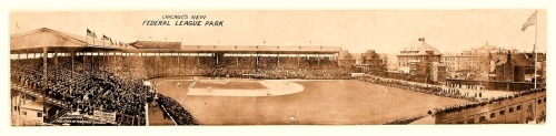 "1914 ""Chicago's New Federal League Park"" Panoramic Weegham Park, Home Of The 1914 Chicago Chi-FedsOf course, Weegham Park was the first name for what we now know as Wrigley Field. The Cubs started playing there in 1916, but the name change to Wrigley Field didn't occur until 1926. For more, check out: A Brief History of Wrigley Field/Cubs Park/Weegham Park."