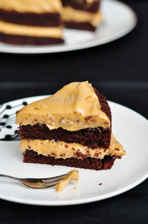 chocolate stout cake with peanut butter frosting