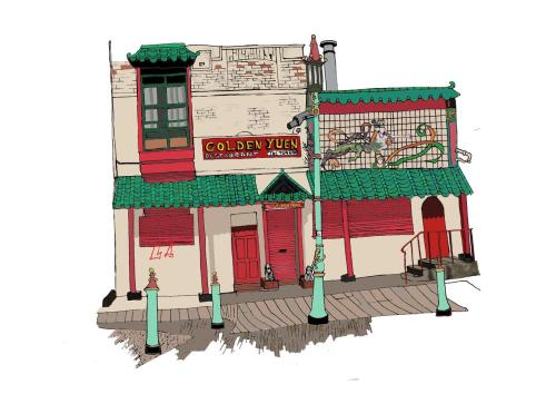 The Golden Yuen, China Town, Liverpool Digital Illustration