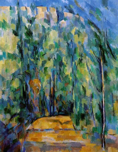 Above: Paul Cezanne, Bend in Forest Road, 1902-1906, Oil on Canvas, 81.3 x 64.8 cm.I have chosen this painting because; I love Cezanne. I love this period in history, and I thought it woul dbe interesting to compare to my last post of the painting by Fred Williams, created over 70 years later half the way across the world. In his early career, Cezanne was a member of the Impressionists, a group of artists working in France in the 1970s, banded together by the general aim of painting everyday life Parisian life, one of the first movements that moved away from the tradition of grand narratives. Another key features of the Impressionism was au plein air painting, or, 'painting out of doors.' The Impressionists were also concerned with capturing light and atmosphere surrounding objects, hence the loose and 'impressionistic' characteristics of their art, a features apparent due to the urgency of capturing fleeting moments.With that background in mind, the influences of impressionism can be seen in this painting from Cezanne's post-impressionist period. The stylistic features of impressionism (loose, sketchy brushtroke, bright colour palette) can be seen, however, Cezanne has moved further towards abstraction. General forms have been created, and brushtrokes become 'chunkier' and thicker; fewer and fewer strokes have been used in the construction of the image. This has obviously given the composition a geometric-like structure, and there is a flatening of the picture plane created by the lack of perspective (this flatness of the picture plane was a feature common to all Modernist art movements).