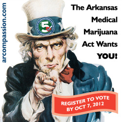 It's NATIONAL VOTER REGISTRATION DAY!Make Your Voice Heard!Become a registered voter (or update your address if you've moved) in Arkansas. It is a quick and simple process, so do it right now! The last day to register to vote in the Stat e of Arkansas for the 2012 General Election is: October 7, 2012.MULTIPLE WAYS TO REGISTERYou can register by mail in just three steps: download, print, then mail (or drop-off the form at your county courthouse). Start here: Download the Arkansas Voter Registration Form (English PDF:http://www.sos.arkansas.gov/elections/elections_pdfs/voter/voter_reg_ap_ar.pdf )Or register in person at one of these locations in your community:• County clerk's office in your home county• State Revenue Office, Driver Services• Public library or Arkansas State Library• Public assistance agency• Disability agency• Military recruitment office• Arkansas National GuardHOW DO I KNOW IF I'M REGISTERED?Consider yourself registered when—and only when—you receive an acknowledgment from your county clerk. This could take several weeks, regardless of your method of application.Never assume you are registered to vote until you have received this acknowledgment.Call your county clerk after two weeks and inquire about the status of your application.Check your voter registration status online by visiting:http://www.voterview.org/.REGISTRATION REQUIREMENTSTo register to vote in Arkansas, you must:• Be a U.S. citizen.• Be an Arkansas resident (residing in Arkansas at least 30 days prior to the first election in which you will vote).• Be age 18 or turn 18 on or before the next election.• Not be a convicted felon whose sentence has not been discharged or pardoned.• Not be presently adjudged as mentally incompetent as to your ability to vote by a court of competent jurisdiction.For more information on registering to vote in Arkansas, visit the Secretary of State's website:http://www.votenaturally.org/registration.html