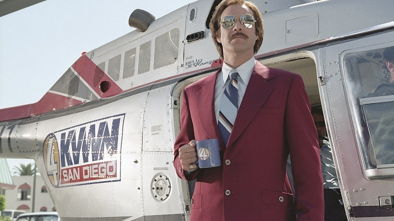 RON BURGUNDY Burgundy by name, burgundy by fashion. Anchorman: The Legend of Ron Burgundy (2004), directed by: Adam McKay, costume design by: Debra McGuire
