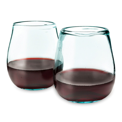 joshuaowen:  Stemless wine glasses, made in Columbia of recycled wine bottles.  If anyone want's to buy me a set I will send you my address.  Available by Uncommon Goods