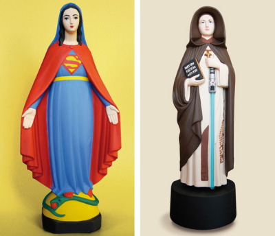 restlesshippo:  Miniature Virgin Mary Statues Transformed Into Pop Culture Characters