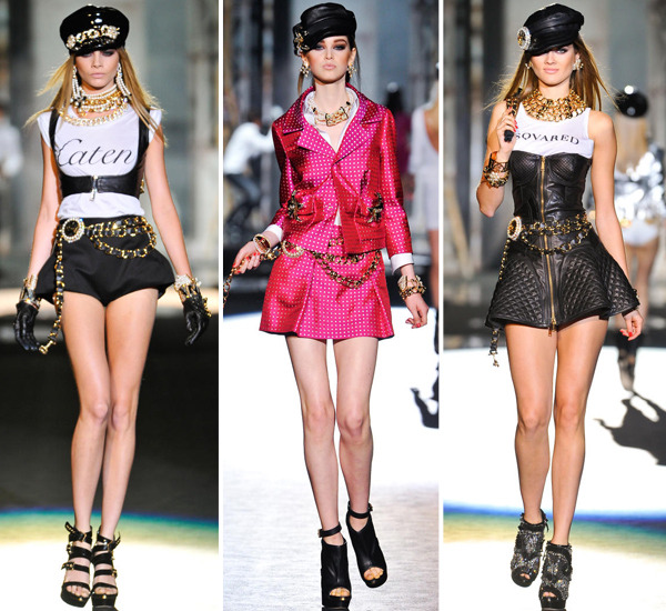 darklamb:  Dsquared2 Spring 2013. I mean… Gianni Versace did it perfectly 20 years ago. Why fuck with that? (Images via Stylesight)  OMG EXACTLY!!!! Like what was new  or reinvention about this? I was sooo disappointed!