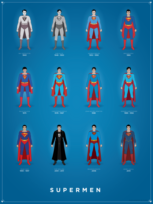 "(click here for bigger image) ""Superman has evolved more than the fruit fly. In the 1930s he was just the crime fighter we needed to take on Al Capone and the robber barons. In the forties he defended the home front while brave GIs battled overseas. In the Cold War he stood up taller than ever for his adopted country. For each era he zeroed in on the threats that scared us most, using powers that grew or diminished depending on the need. So did his spectacles, hair style, even his job title. Each generation got the Superman it needed and deserved. Each change offered a Rorschach test of the pulse of that time and its dreams."" -Larry Tye, Superman: The High-Flying History of America's Most Enduring Hero, 2012 If you know me, you know that I love Superman. A few months ago, I created this Superman timeline which included the actors who I felt were most significant in portraying the Man of Steel. However, after reading Larry Tye's book on the history of Superman, I realized that every actor was significant in some way. This new timeline encompasses all the actors (that I know of) and the years they were active. In order they are: Ray Middleton (1940) - The first man to appear in public wearing the Superman costume during ""Superman Day"" at the New York World's Fair. Kirk Alyn (1948 - 1950) - The first actor to play Superman in the early serials and Atom Man vs. Superman. George Reeves (1952 - 1958) - Starred in Adventures of Superman in the 50's. Bob Holiday (1966) - Portrayed Superman in the Broadway show It's a Bird… It's a Plane… It's Superman! David Wilson (1975) - Star of the television adaptation of the broadway play. Christopher Reeve (1978 - 1987) - Thought by many to be the greatest depiction of Superman ever in Richard Donner's 1978 film, Superman: The Movie, and it's 3 sequels. John Haymes Newton (1988) & Gerard Christopher (1989 - 1992) - Both actors were Superboy in the television show of the same name.  Dean Cain (1993 - 1997) - Superman in the TV show Lois and Clark. Tom Welling (2001 - 2011) - Starred as Clark Kent in the show Smallville, a unique take on the character, in which he never donned the traditional costume (until the last 10 seconds of the final episode) and never went by the name Superman.  Brandon Routh (2006) - Star of Superman Returns, a loose sequel to the Donner films staring Christopher Reeve.  Henry Cavill (2013) - Cavill will become Kal-El in next year's Man of Steel by Zack Snyder.  In short, there have been many different Supermen, each offering something a little different. Though these might be the most significant, there are plenty of other depictions and variations not listed, such as Johnny Rockwell's Superboy in a 50's pilot that failed to take flight. Which Superman is your favorite?  Today is Christopher Reeve's birthday. A perfect day to post this.  My site: slov.es"