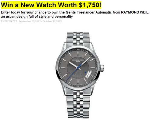 Hey U.S. Friends! Men's Health is giving away a Gents Freelancer Automatic! Enter today for your chance to win: http://www.menshealth.com/events-promotions/contest/win-new-watch-worth-1750