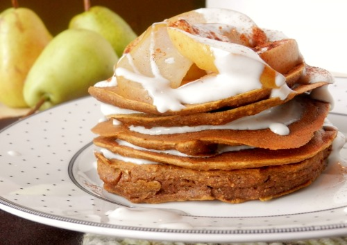 Pumpkin gingerbread pancakes.