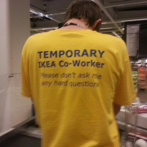 Temporary IKEA Co-Worker Just don't ask him what a Malm is.