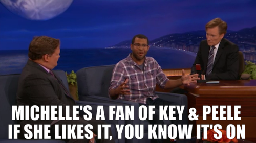 Jordan Peele was on Conan last night and talked about meeting President Obama. Click the image to watch. And click here to watch him preview a sketch from the new season of Key & Peele. Season Two premieres tomorrow at 10:30/9:30c after South Park.