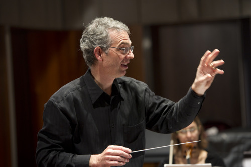 oberlinconservatory:  Timothy Weiss conducting the Contemporary Music Ensemble. Stream their performance this Friday with Listen Live! It's gonna be great! Photo by Kevin Reeves.  If you're here, it's at 8pm in Warner Concert Hall tonight. If you're not, check in with our livestream (broadcast goes live 10 minutes before the concert begins)!