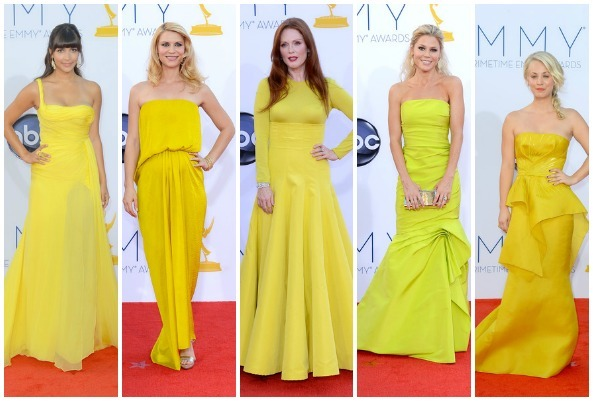 Red Carpet Fashion: at the 64th Primetime Emmy Awards one of the most visible red carpet trends were the vibrant yellow hues that many of the ladies wore. Some of the stand out gowns were as follows: Hannah Simone in Emilio Pucci  Claire Danes in Lanvin Resort 2013 Julianne Moore in Christian Dior Fall 2012 Couture Julie Bowen in Monique Lhuillier Resort 2013 Kaley Cuoco in Angel Sanchez BlogLovin'   :     Twitter    :    Instagram: TheBlondeJournal